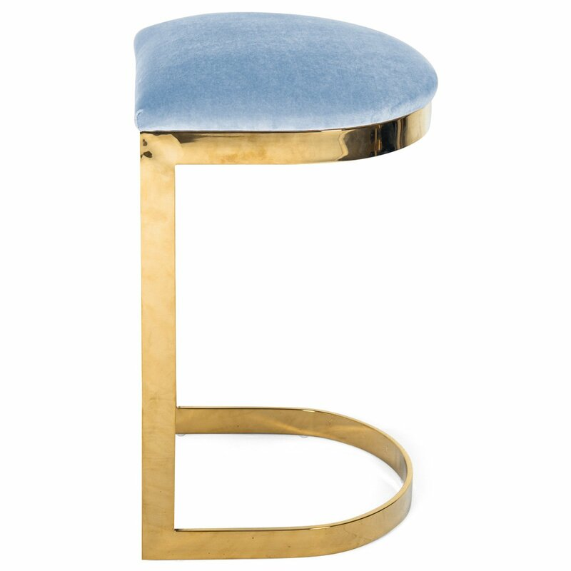 blue stool with brass frame