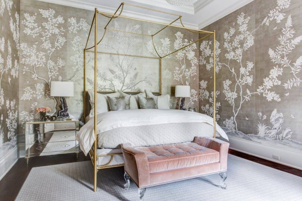 antique  chinoiserie wallpaper in a glam bedroom