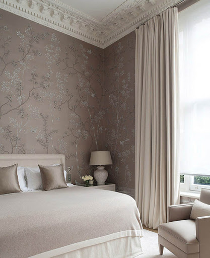 blush  chinoiserie wallpaper in a modern classic bedroom