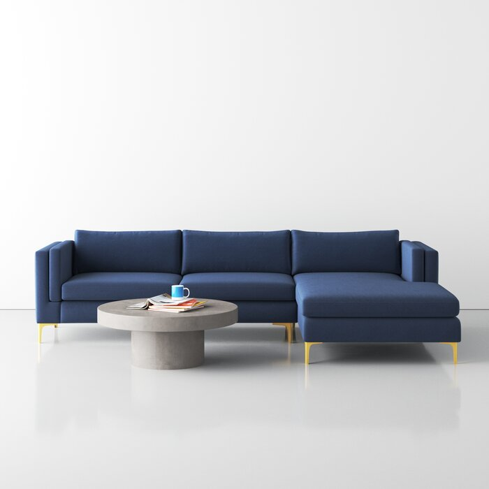 """114"""" Wide Velvet Sofa & Chaise With Brass Legs"""