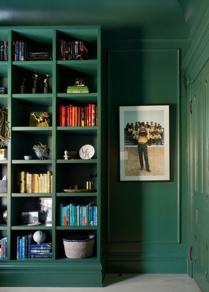 muted green in this home office evokes a very grounded feeling