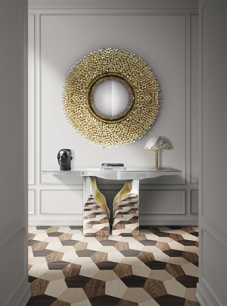 love this glamorous round brass mirror in the entry. It's inviting, chic and magically elevate the entry in a big way
