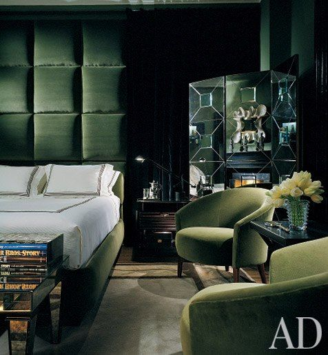Green evokes a calming and relaxing atmosphere in this modern bedroom