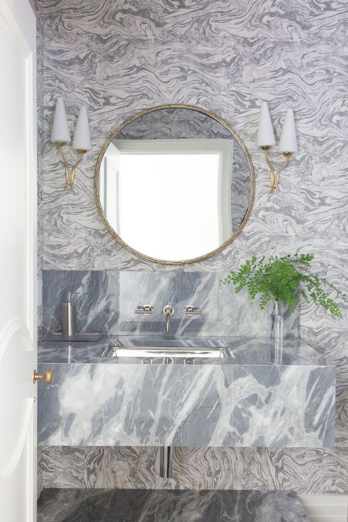 A Marble-cladded Floating Vanity
