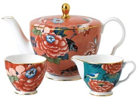 Wedgwood Paeonia Blush 3-Pc Tea Set- Teapot, Sugar & Creamer