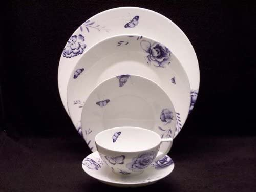 Jasper Conran China Blue Butterfly 5 Pc Place Setting(s) W/Lunch Plate
