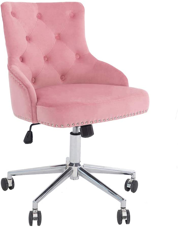 Home Office Chair with High Back, Modern Design Tufted Velvet Desk Task Chair with Arms in Study Bedroom (Pink)