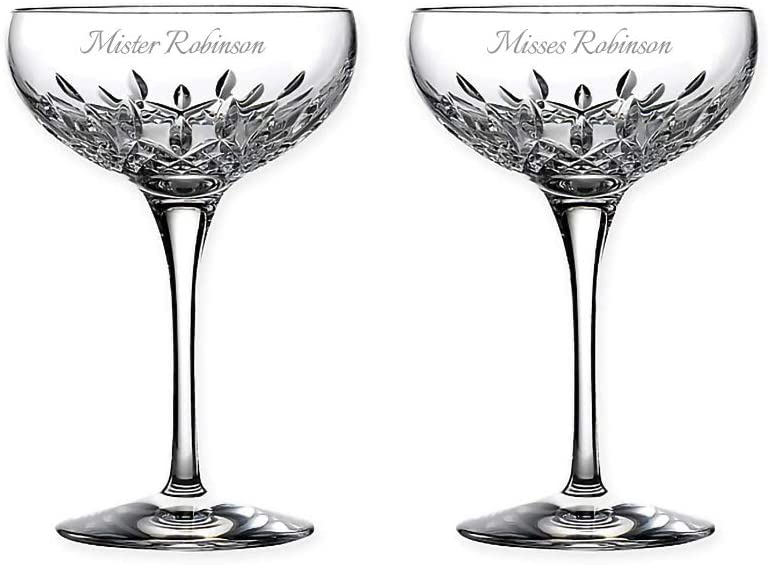 Waterford Lismore Essence Personalized Crystal Coupe Glasses, Set of 2 Custom Engraved Champagne Coupe Saucers