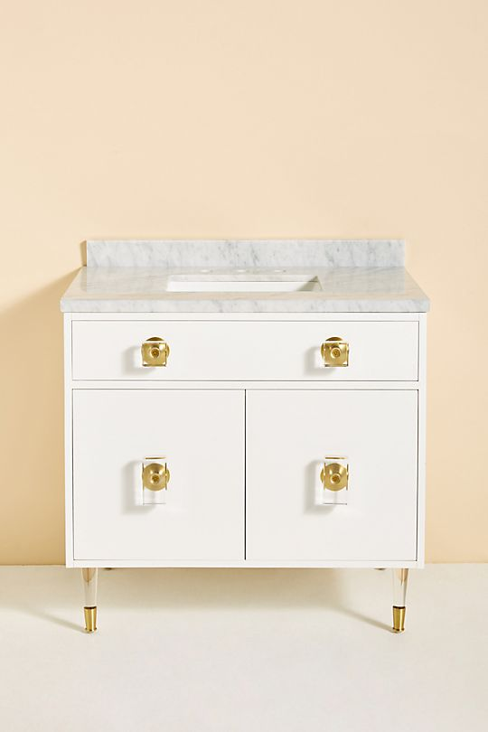 White Lacquered Regency Single Bathroom Vanity with brass and lucite details