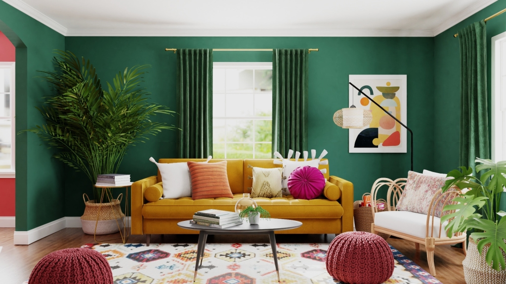 Green makes this modern living room enliven