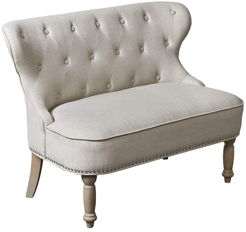 French soliwood upholstered cream tufted loveseat