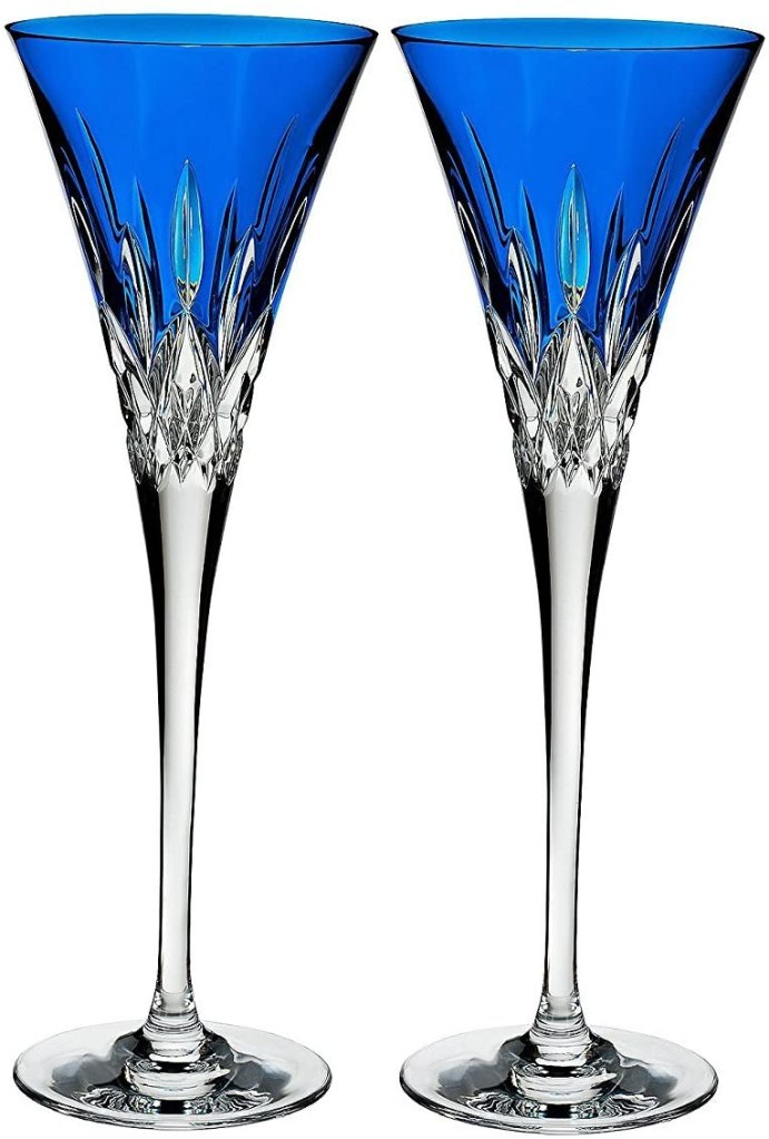 Waterford Set of 2 Lismore Pops Toasting Flutes blue