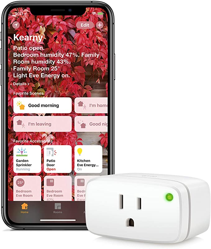 Eve Energy - Apple HomeKit Smart Home Plug & Power Meter With Built-In Schedules & Switches, Voice Control