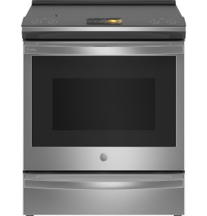 "GE Profile Smart Appliances 30"" 5.3 cu.ft. Slide-in Electric Range with Griddle and will be available in April"