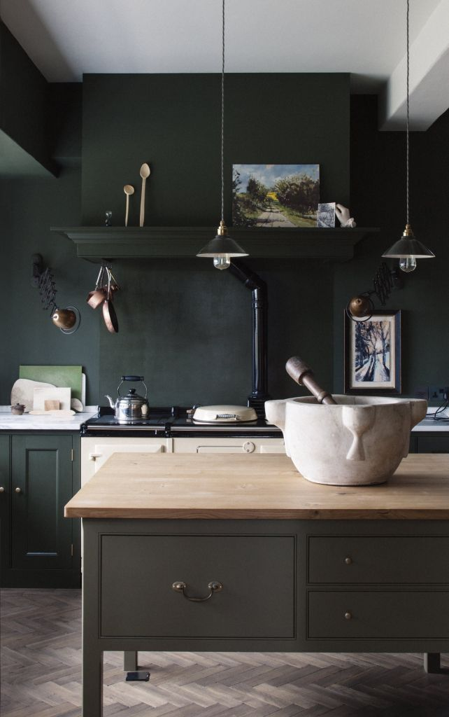 modern farm house kitchen featuring color of green