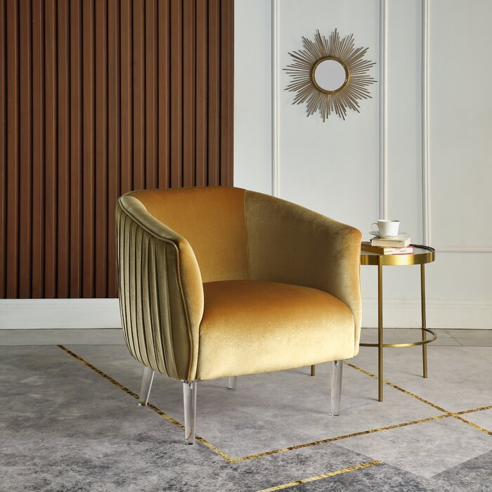 """30"""" W Velvet Barrel Chair with lucite legs and channeled back"""