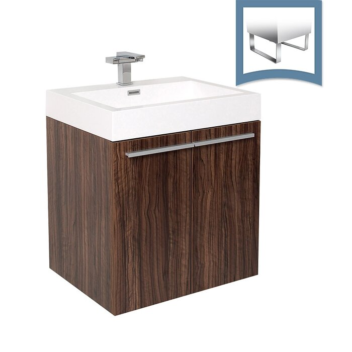 "Alto 23"" Single Bathroom Vanity Set floating vaity dark brown"