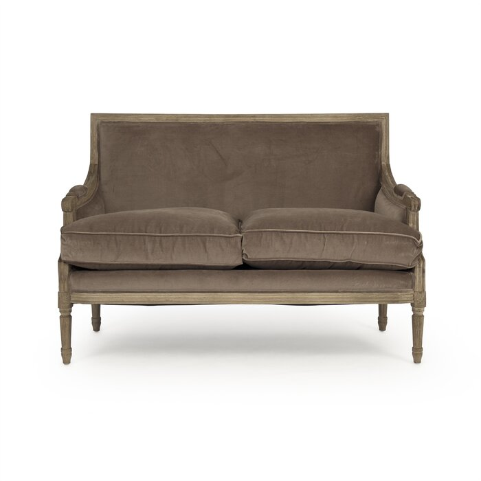"Bodil Cotton 48"" brown Recessed Arm velvet Loveseat"
