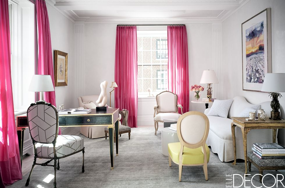 pink drapes and yellow classical chairs