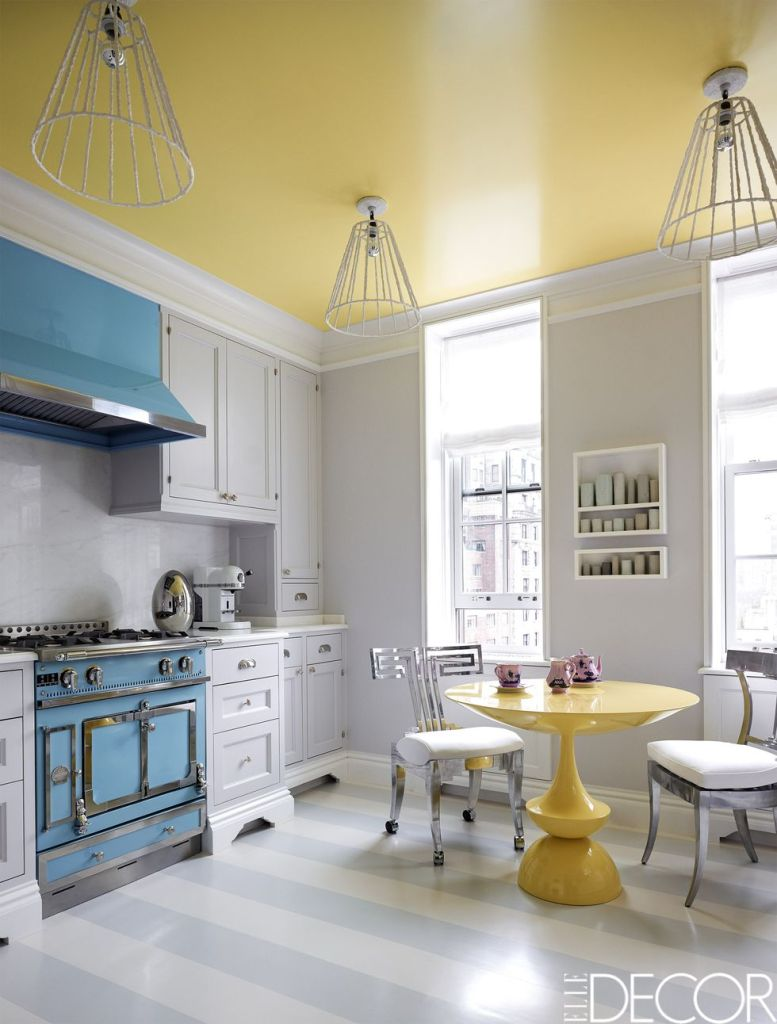 modern yellow kitchen ceiling and btrakfast table