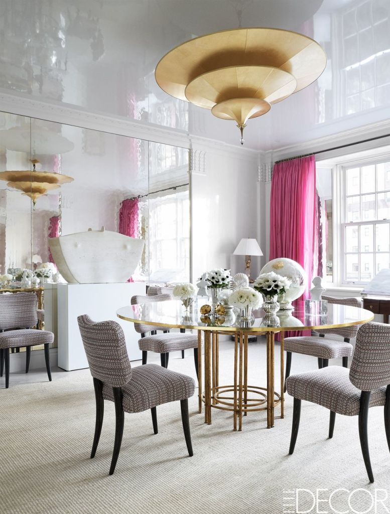 white lacquered white dining room with pink drapes