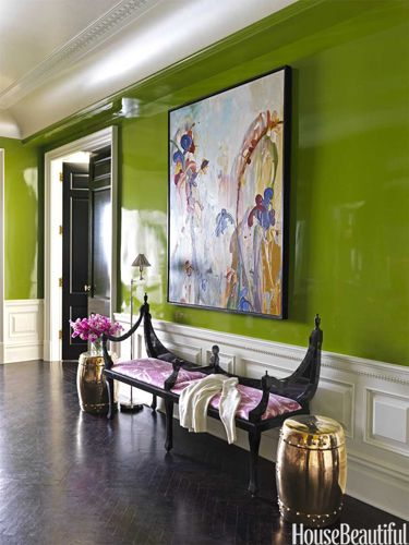 lacquered green wall