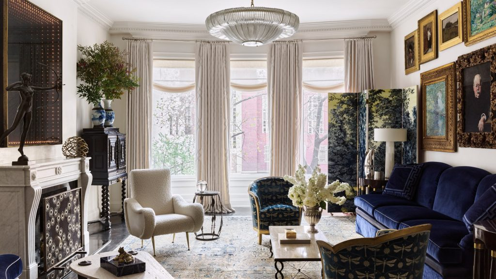 graceful Venetian plaster walls and hand-embroidered, quilted-cashmere curtains in this classical living room