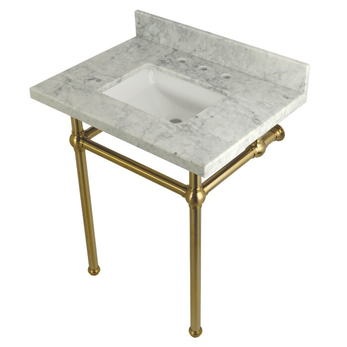 "Carrara Marble 30"" Single Bathroom Vanity Set free-standing brass legged marble vanity"