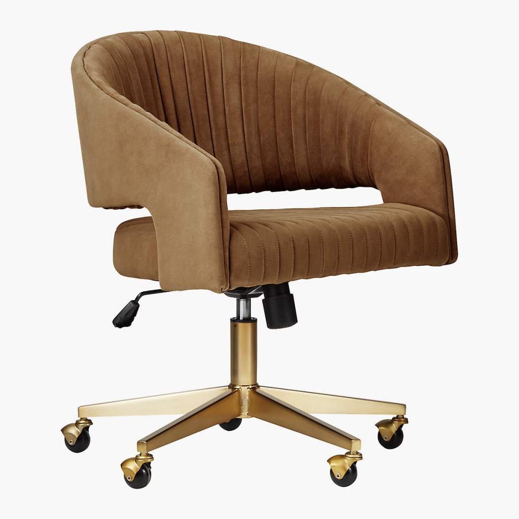 BrownCHANNEL SUEDE OFFICE CHAIR