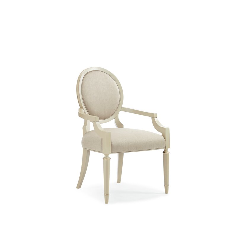 glam modernized side chair in cream color