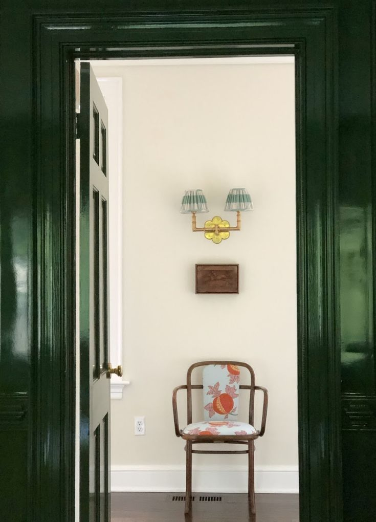 A Hallway Featuring With Classical Green Mill-work, Antiques And Mid-century Modern Furniture
