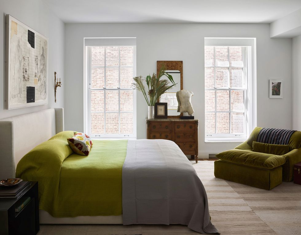 moss-green bedroom