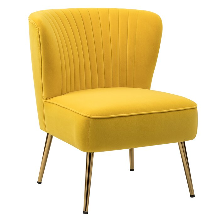 Channeled Yellow Side Chair