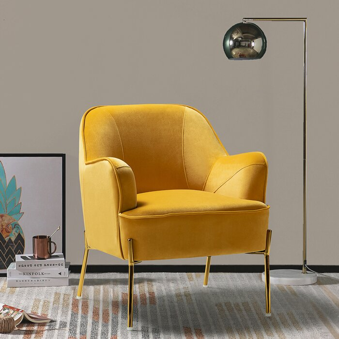 "28"" W Yellow Velvet Armchair"