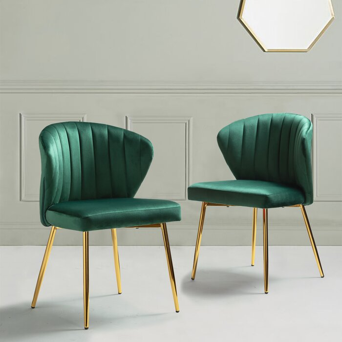 Green Side Chair With Brass Legs