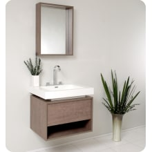 "Fresca Potenza 27-3/8"" Wall Mounted / Floating MDF Vanity With Mirrored Medicine Cabinet, Acrylic Sink, Countertop, P-Trap, Pop Up Drain and Installation Hardware"