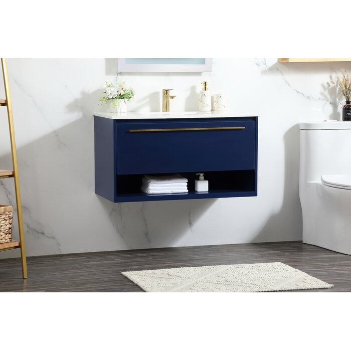"Giorgi 36"" Wall-Mounted Single Bathroom Vanity Set navy blue"