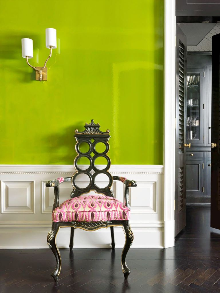 pair color of  acid-green and pink on a classical chair