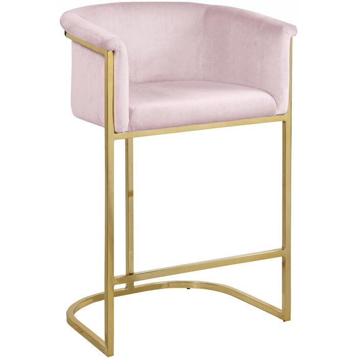 "Hani 27"" Bar Stool in blush and brass base"