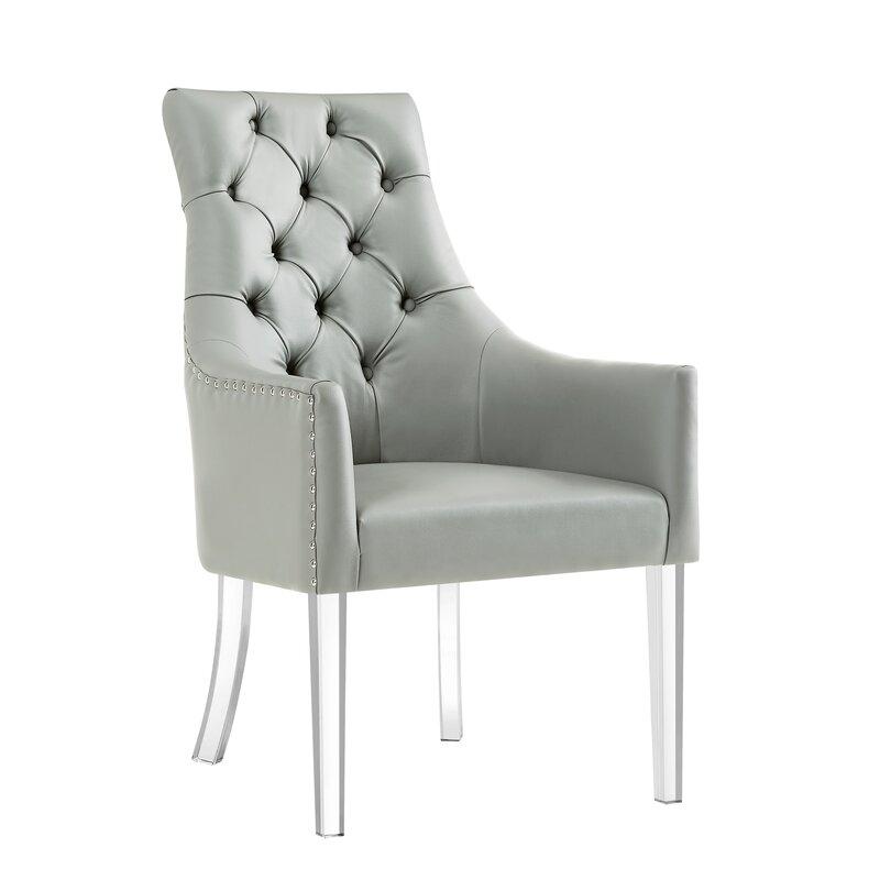 grey tufted dining chair with lucite legs