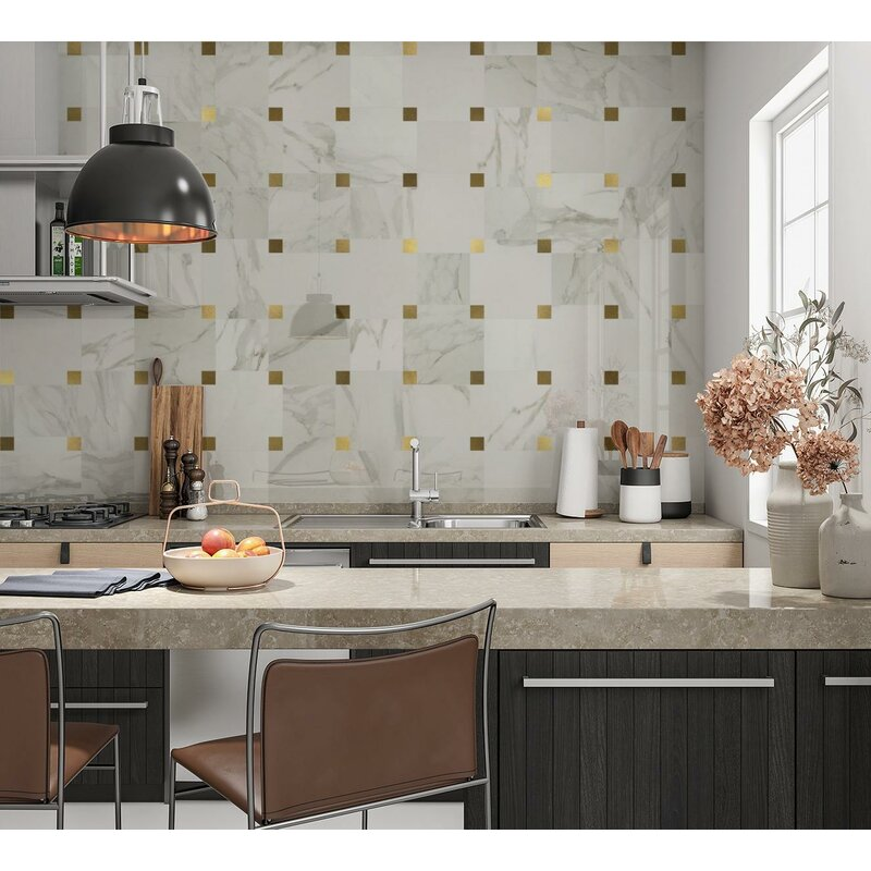 marble tile with brass inserts for backsplash and walls