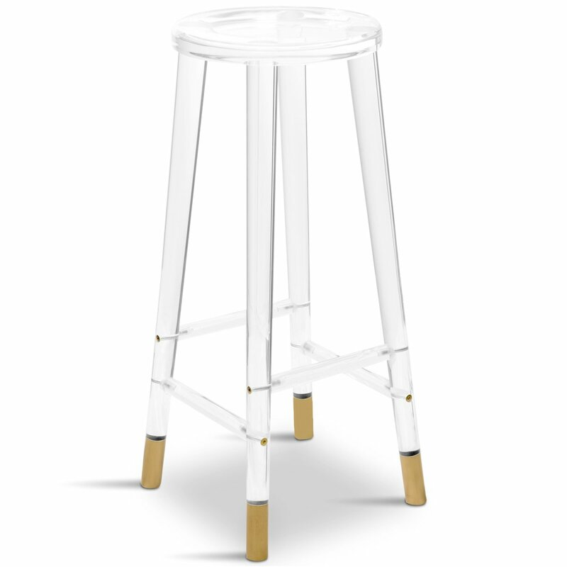 lucite bar stool with brass details