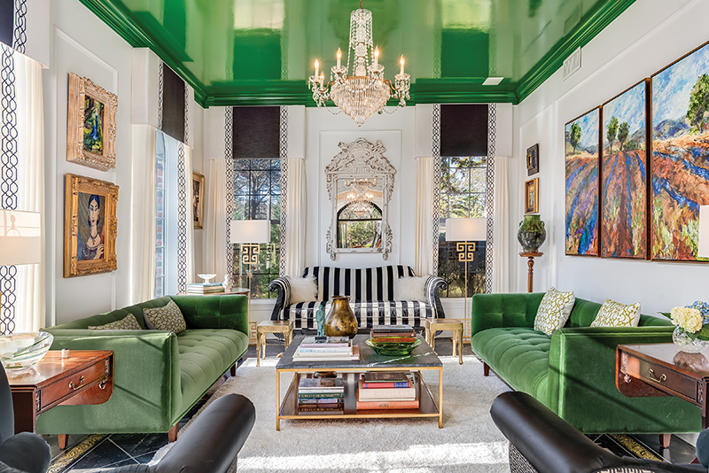 lacquering green ceiling