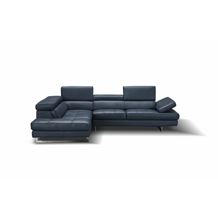 """Modern Hugo 114"""" Wide Genuine Leather Large Sectional"""