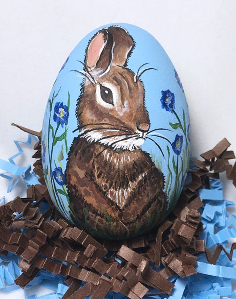 Hand painted egg, bunny in flowers