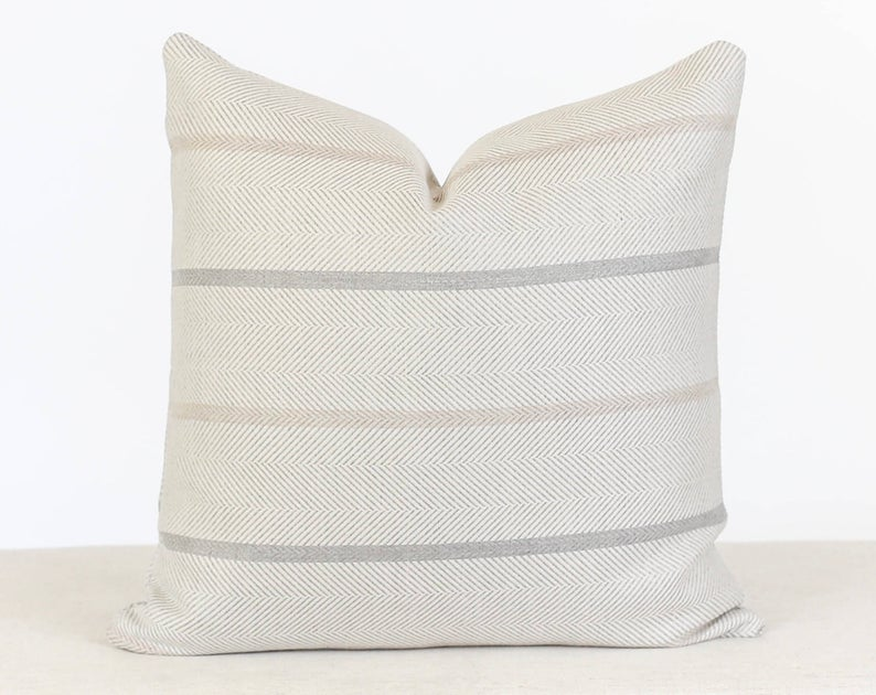 Indoor Outdoor Designer Pillows, Neutral Striped Pillow Cover, Beige Striped Pillow Cover, Outdoor Pillow Sunbrella, Outdoor Throw Pillow