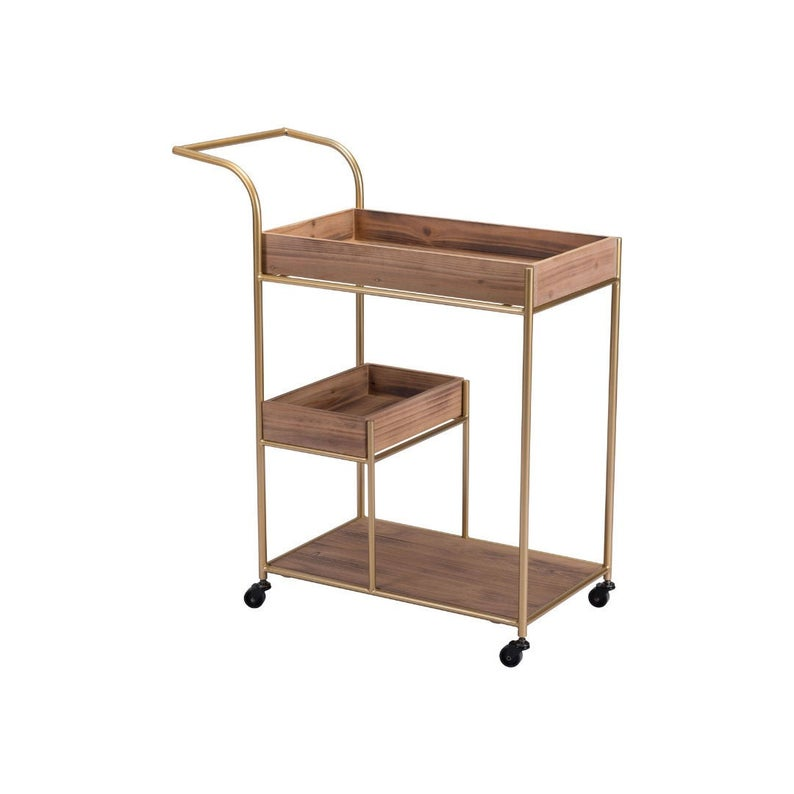 Bar Cart & Tray Brown Wood and Gold | Rolling, On Wheels | Mid-Century Modern, Industrial, Masculine