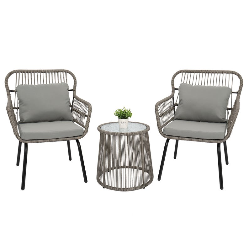 Outdoor Wicker Rattan 3 Piece Patio Wicker Conversation Bistro Set with 2 Chairs Glass Top Side Table and Grey Cushions