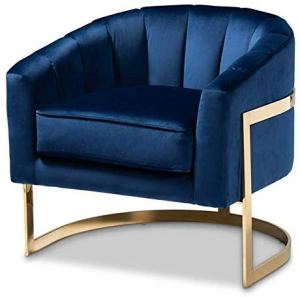 Baxton Studio Tomasso Blue Velvet Fabric Gold-Finished Lounge Chair