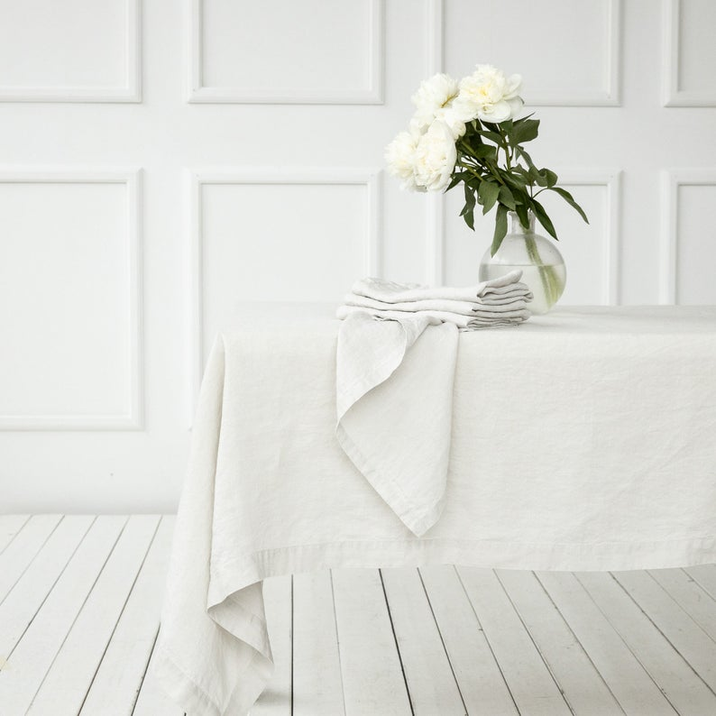 Stone Washed Linen tablecloth in Silver